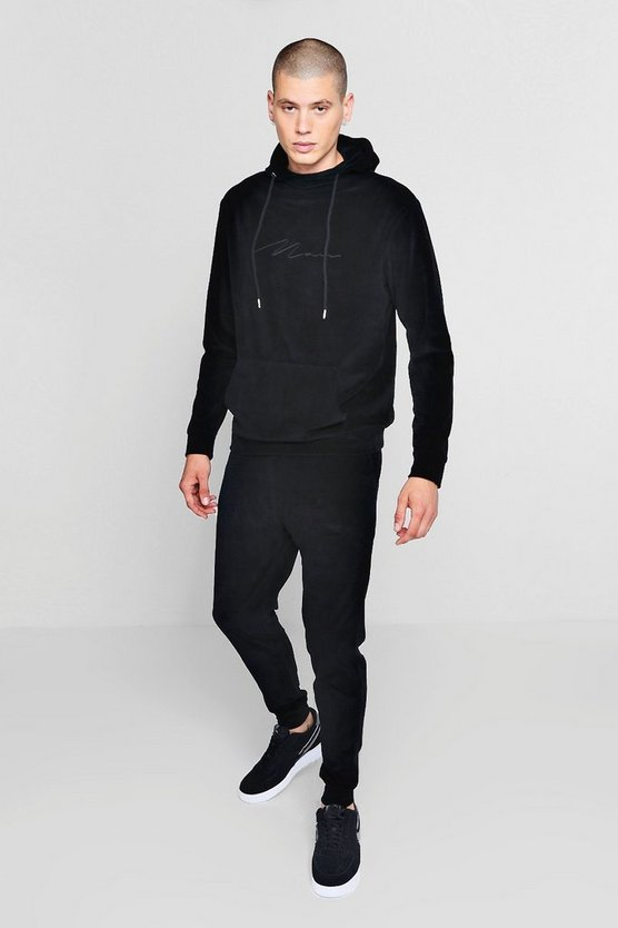 MAN Signature Velour Hooded Tracksuit