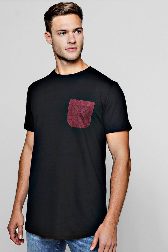 Longline Aztec Pocket T-Shirt With Curve Hem