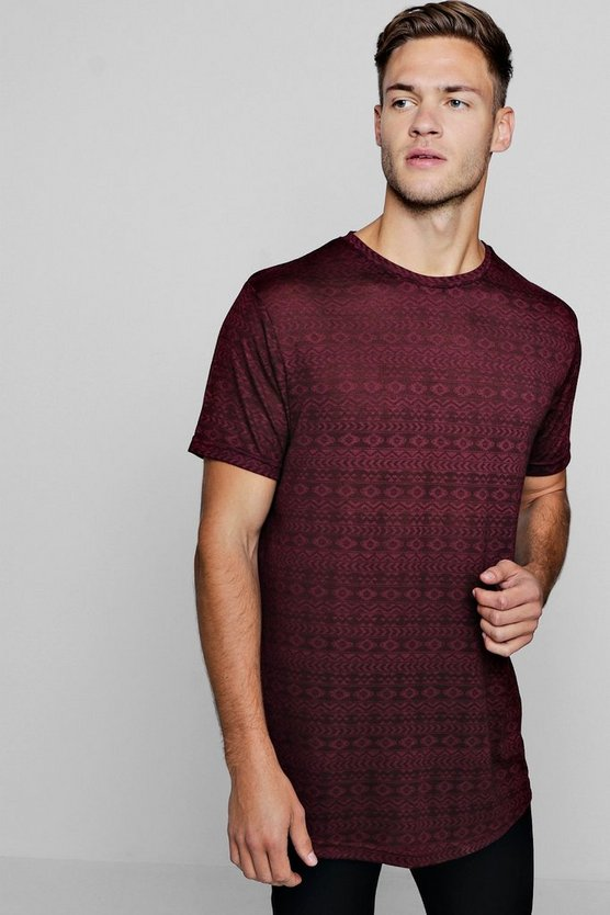 Longline Aztec Burnout T-Shirt
