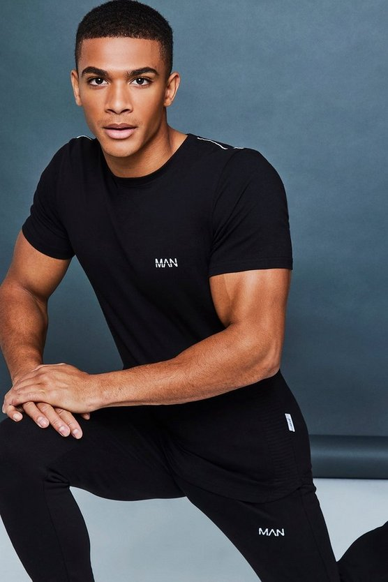 Muscle Fit Biker Panel Tee With Reflective Piping