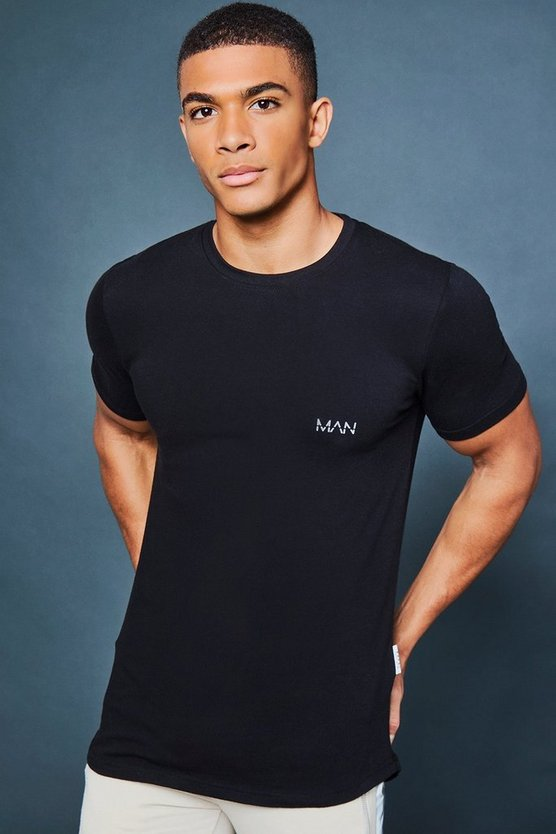 Muscle Fit Curved Hem Tee With Reflective Detail