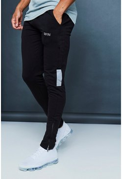 Mens Black Muscle Fit Jogger With Reflective Detail