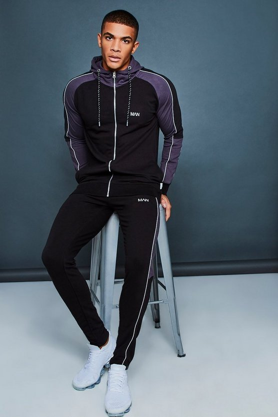 Hooded Muscle Fit Contrast Sleeve Tracksuit