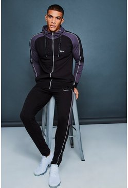 Mens Black Hooded Muscle Fit Contrast Sleeve Tracksuit