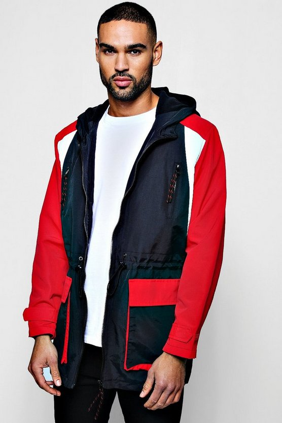 Mens Red Longline Fleece Lined Colour Block Windbreaker