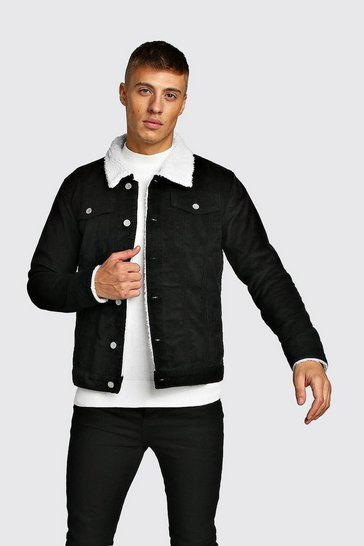 Mens Black Cord Jacket With Borg Collar
