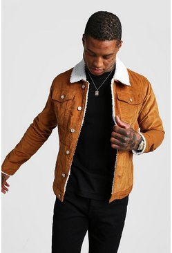 Mens Tan Cord Jacket With Borg Collar