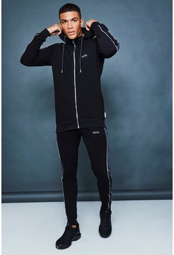 Mens Black Muscle Fit Panelled Reflective Detail Tracksuit
