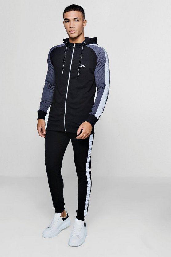 Mens Black Muscle Fit Hooded Reflective Detail Tracksuit