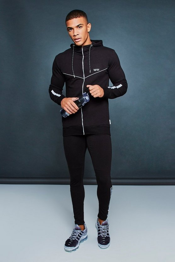 Black Muscle Fit Reflective Print Tracksuit With Taping