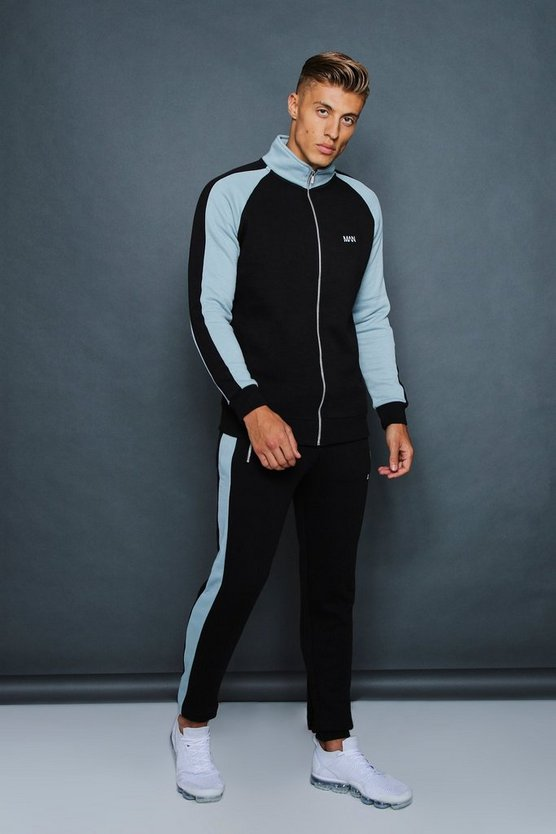 Skinny Fit Funnel Neck Contrast Panel Tracksuit