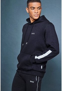 Mens Black Over The Head Hoodie With Reflective Detail