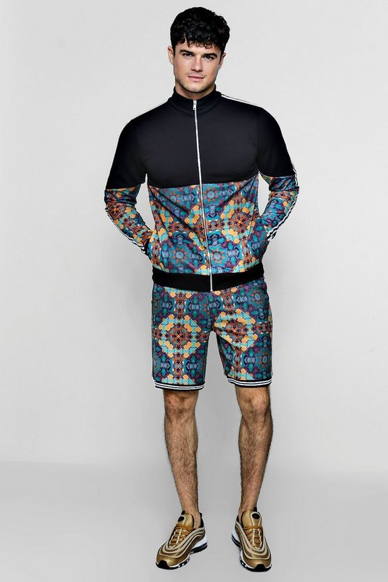 Moroccan Print Short Tracksuit With Contrast Taping