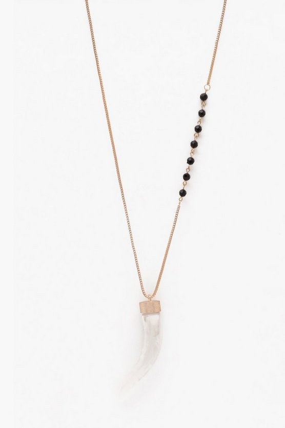 Long Chain With Faux Tusk Pendant