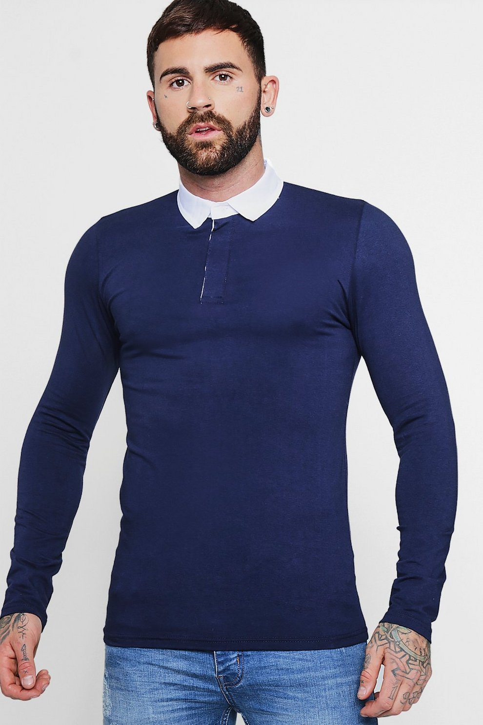 34f46d02 Long Sleeve Rugby Polo In Muscle Fit | Boohoo