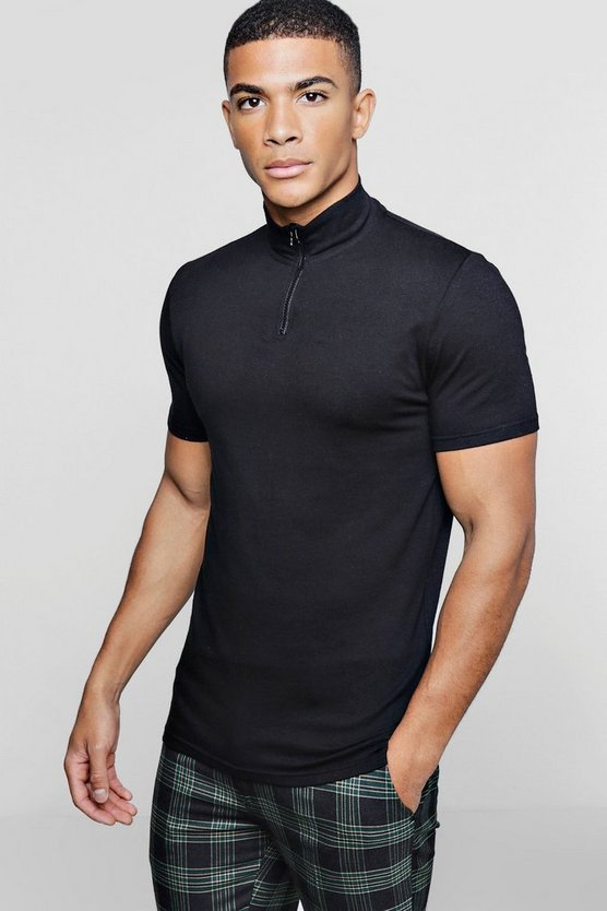 Half Zip Funnel Neck Polo