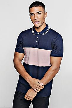 Short Sleeve Colour Block Polo With Tipping