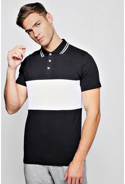 Mens Black Short Sleeve Colour Block Polo With Tipping