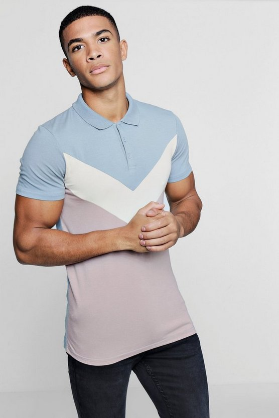 Chevron Panel Muscle Fit Polo