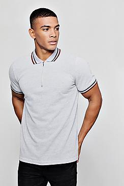 Short Sleeve Pique Polo With Zip Collar