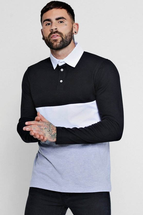 Long Sleeve Colour Block Rugby Polo