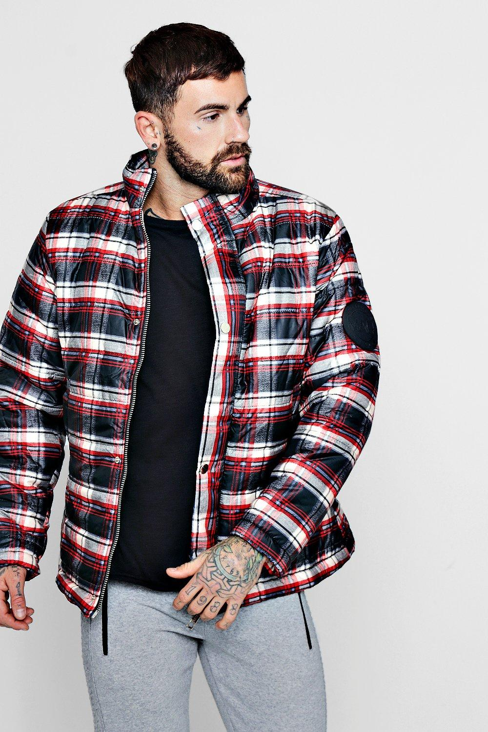 MAN Funnel Neck Check Puffer | Boohoo