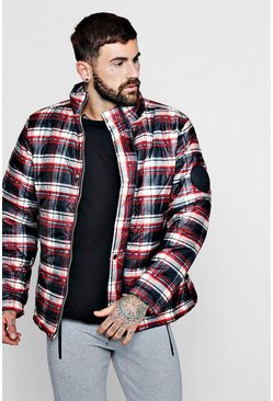 Mens Red MAN Funnel Neck Check Puffer