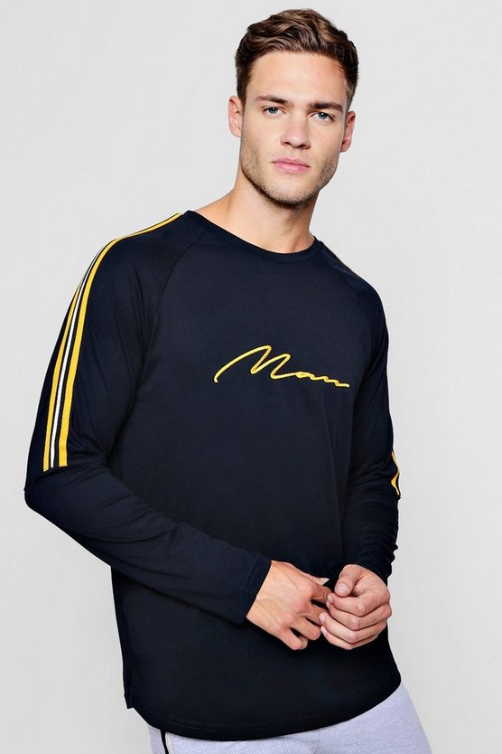 MAN Signature Long Sleeve T-Shirt With Side Tape