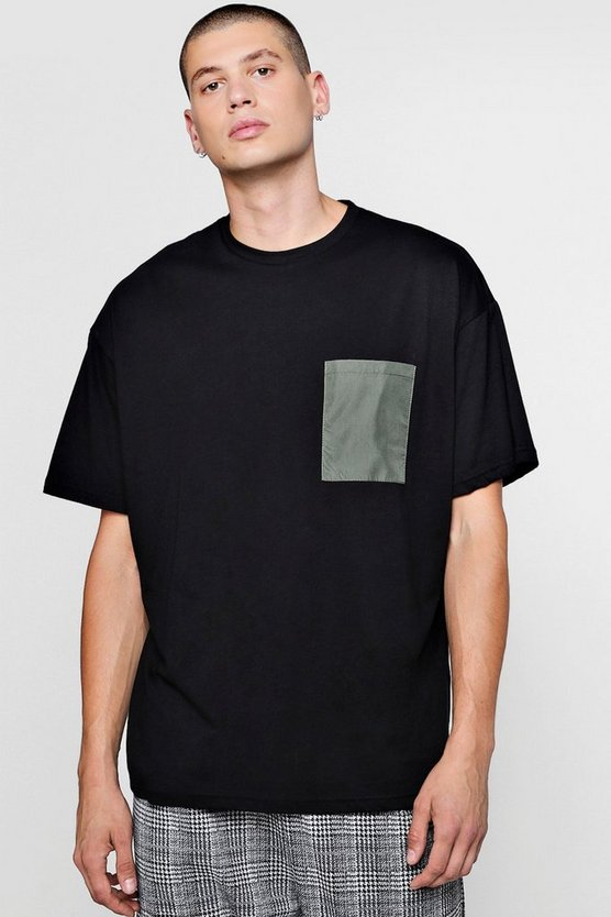 Mens Black Oversized T-Shirt With Woven Pocket