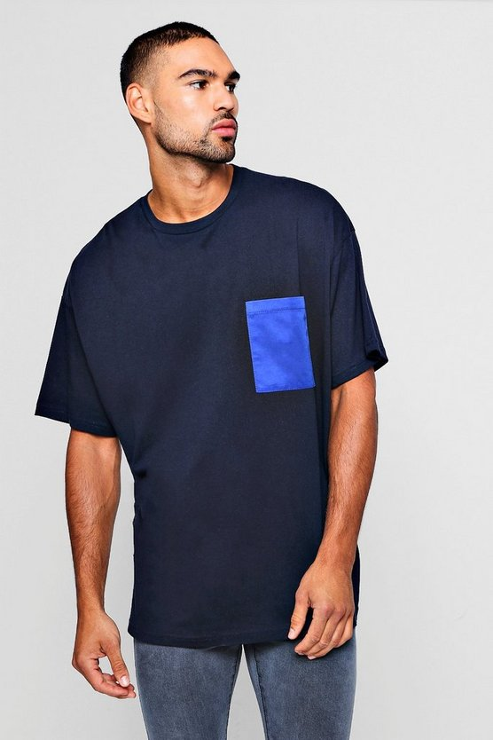 Oversized T-Shirt With Woven Pocket