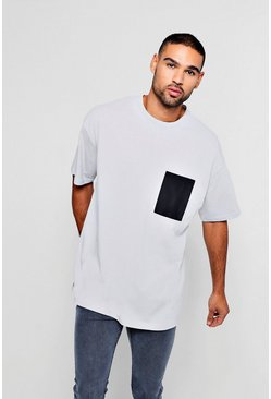 Mens Silver Oversized T-Shirt With Woven Pocket
