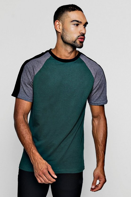 Contrast Raglan T-Shirt With Velour Panel