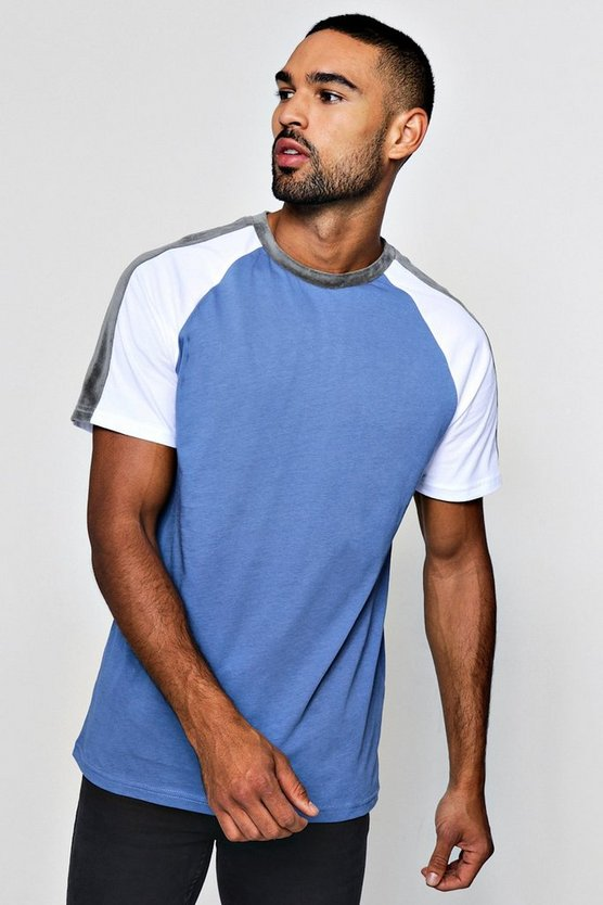 Contrast Raglan T-Shirt With Velour Panels