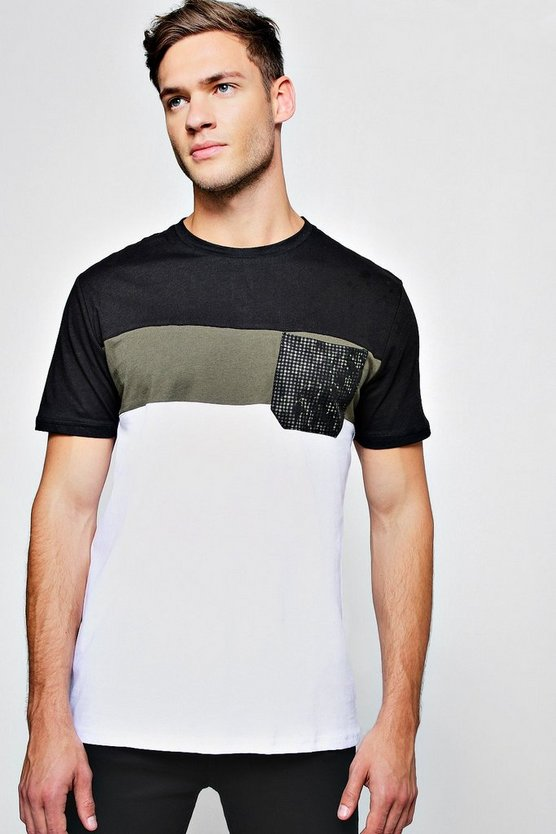 Colour Block T-Shirt With Print Pocket
