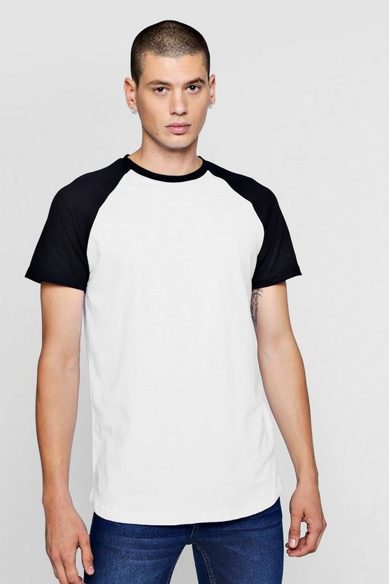 Longline Raglan Contrast T-Shirt With Tape