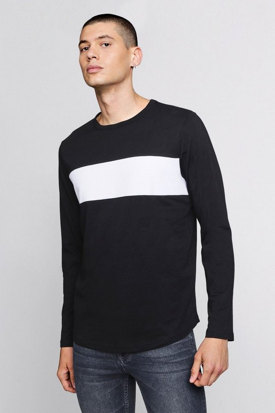 Longline Colour Block Curved Hem T-Shirt