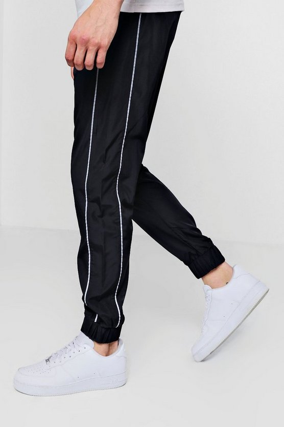 Shell Joggers With Reflective Piping