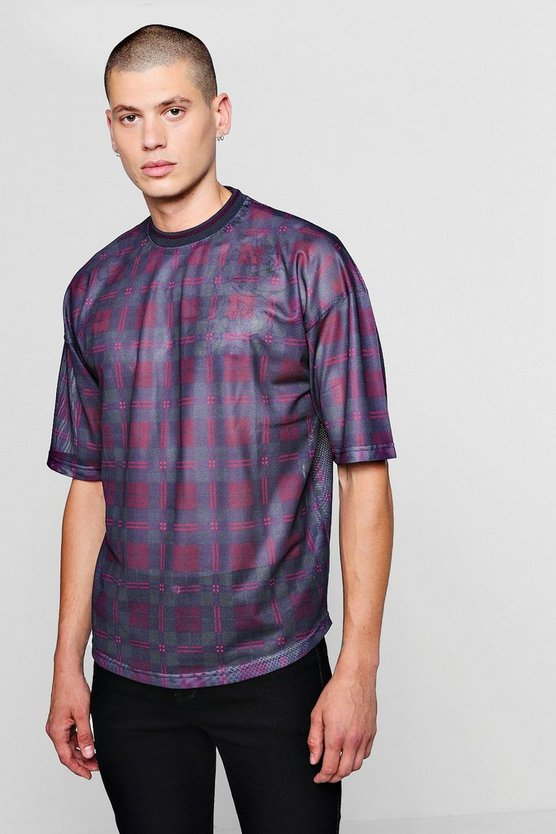 Loose Fit Tartan Check Mesh T-Shirt