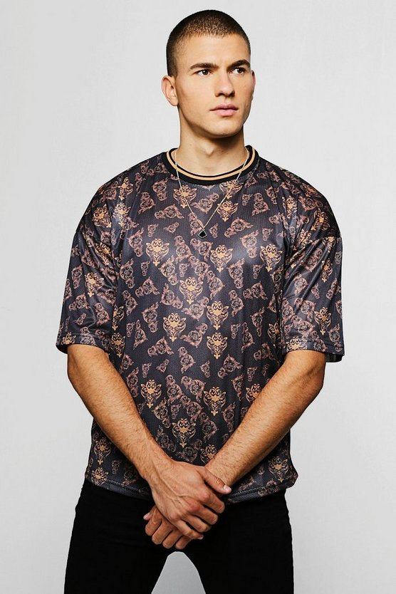 Mens Black Loose Fit Baroque Print Mesh T-Shirt