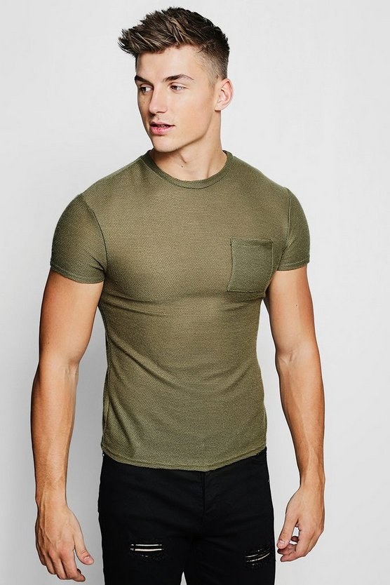 Mens Khaki Pocket Detail Knitted Tee