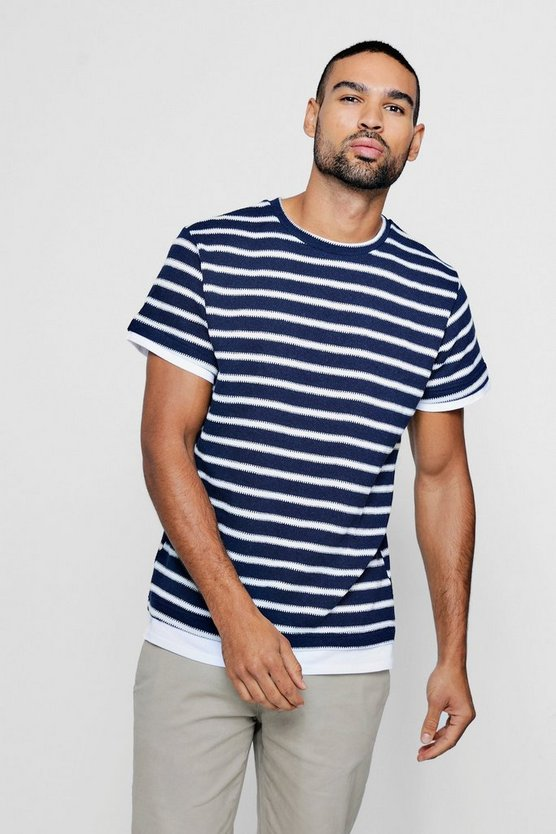 Mock Hem Knitted Stripe T-Shirt