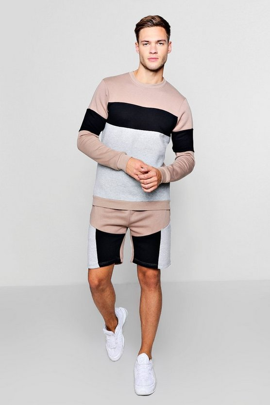 Colour Block Sweater Short Tracksuit