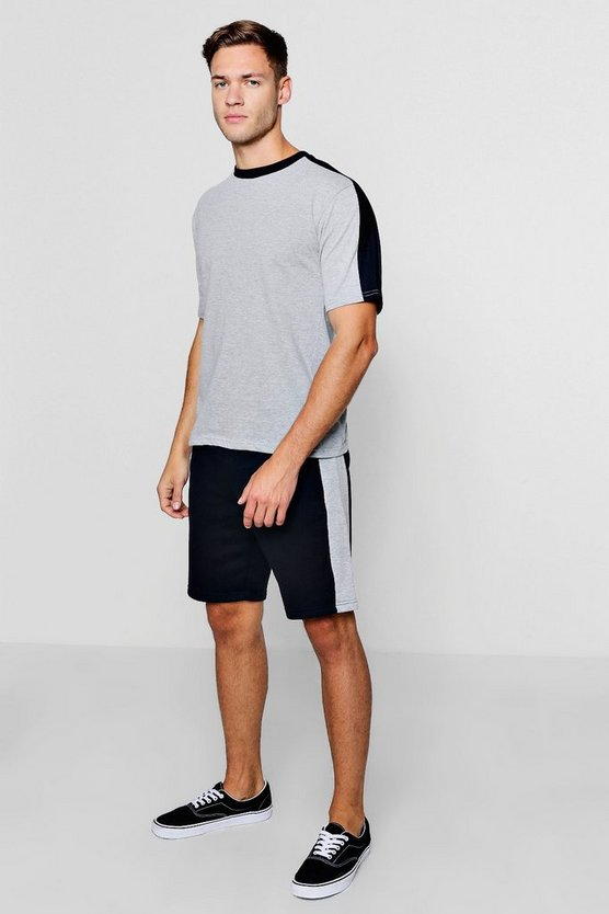 Contrast Panel T-Shirt And Short Set