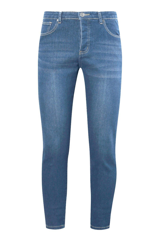 medio Jeans desgastados denim medio azul azul en pitillo fUwXrqxU0H