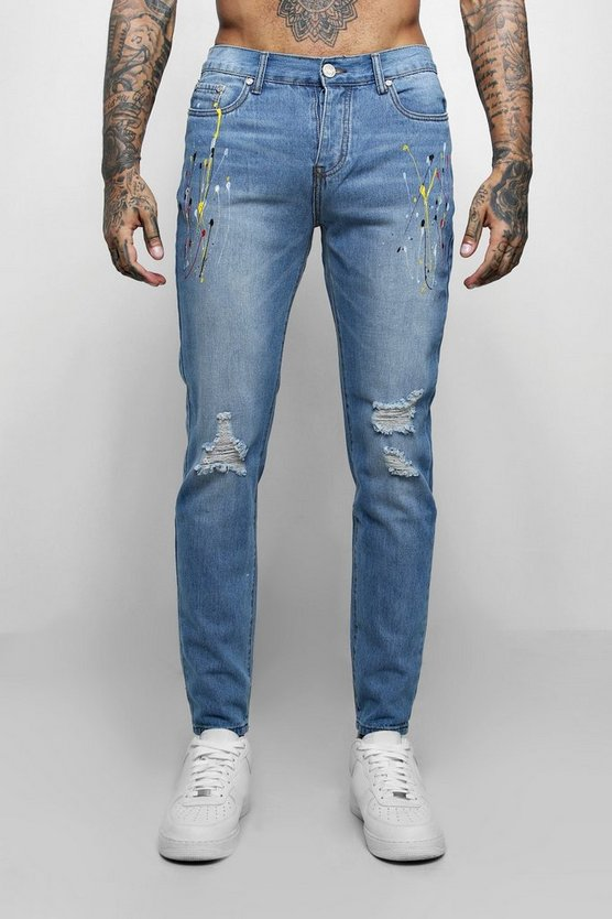 Mens Vintage wash Skinny Fit Jeans With Multi Paint Splatter