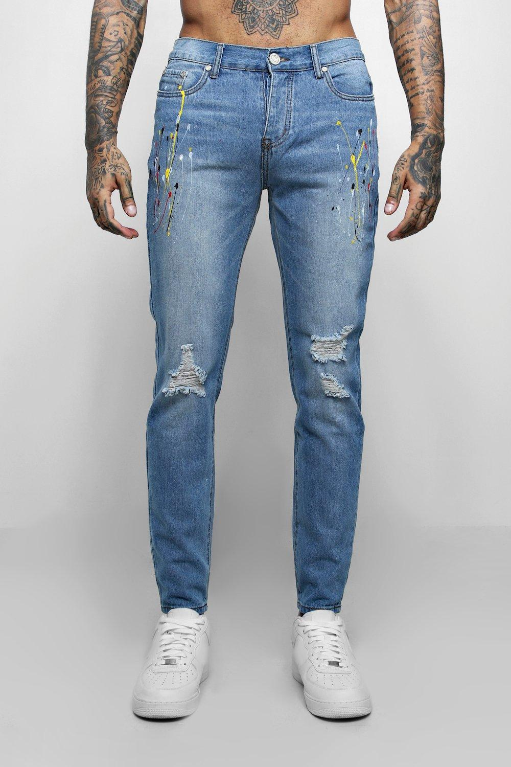 Skinny Fit Jeans With Multi Paint Splatter | Boohoo