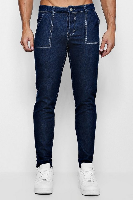Skinny Fit Rigid Jeans With Worker Detailing