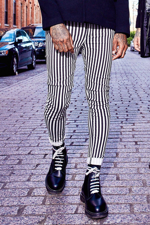 Super Skinny Printed Stripe Jeans