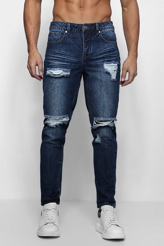 Slim Fit Jeans With Heavy Distressing