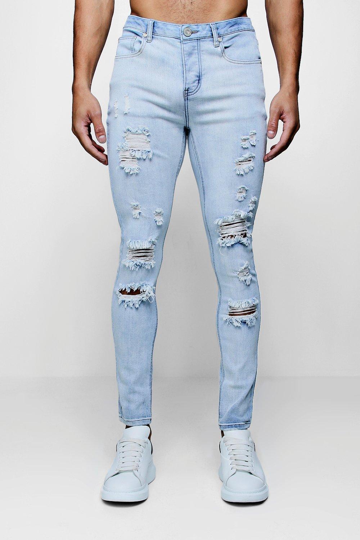 Super Skinny Distressed Wash Jeans